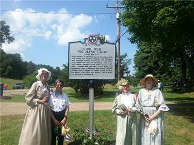 UDC members attending the unveiling of a historical roadside marker in Cleveland.  From left, Linda Ballew, Debbie Riggs, Harriett Caldwell and Gussie Ridgeway.