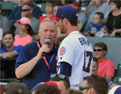 Lookouts radio announcer Larry Ward interviewing Kris Bryant in 2014. Bryant, who was selected as the 2015 National League Rookie of the year, won the 2014  All-Star Home Run hitting contest at Historic Engel Stadium.