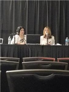 Martica Lambiase and Judy Spiegel discuss the Arts at Erlanger program during the Healthcare Facilities Symposium in Austin, Tx.