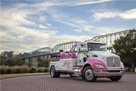 Miller Industries has a pink Century 3212CX wrecker on a Kenworth T440 chassis to raise breast cancer awareness