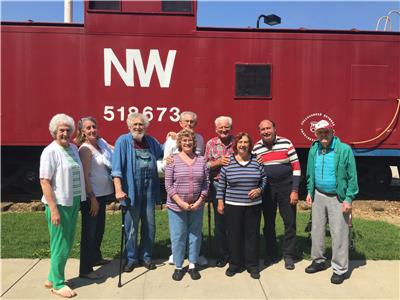 Judy Gray, Mary Kate Shugart, Trish Cornes, Jeanette Daniels, Bob LeCroy, Jimmy Rector, Charles Rayburn, Malcom Horrell, and Jim Bird, residents at The Lantern at Morning Pointe Alzheimer's Center of Excellence, Chattanooga, enjoyed a trip to the Imagination Station in Collegedale. ?