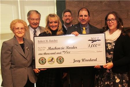 Mackenzie Roeder (far right) received the 2017 Robert M. Hatcher Memorial Scholarship. Mackenzie, a graduate student at Austin Peay, was presented the award at the January meeting of the Tennessee Fish and Wildlife Commission meeting in Nashville. Pictured from left are Mr. Hatcher's wife, Betty, TWRA Executive Director Ed Carter, the Hatchers' daughter, Terri Hatcher Goodwin, the Hatchers' son, Jerry, and TWRA Bird Conservation Coordinator, David Hanni. This marks the second year of the scholarship presented in Mr. Hatcher's honor.