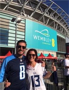 Brother and sister Drew and Carolyn Taylor of Chattanooga were among the fans cheering for the Tennessee Titans on Sunday at Wembley Stadium in London, England. The Titans lost the game on the last play of the game to the Los Angeles Chargers.