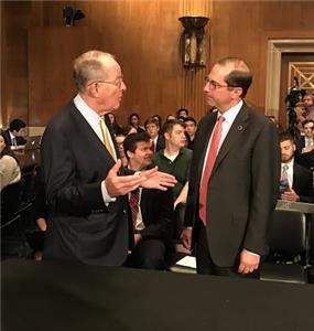 Senator Lamar Alexander, left, with HHS Secretary Alex Azar, on right, who testified Tuesday on Trump Administration blueprint on reducing prescription drug costs
