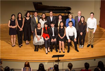 Prize winners, guest artists, and faculty from the Lee University International Piano Festival and Competition are pictured in Squires Recital Hall