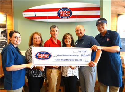 Christina Casurella, Jersey Mike's Director of Operations; Rosemary Dworak (YMCA Healthy Living Center at North River), Tripp McCallie (YMCA of Metropolitan Chattanooga), Princess Snyder (Cleveland Family YMCA), Lee Montgomery (Hamilton Family YMCA) and Elliott Washington, Jersey Mike's crew member.