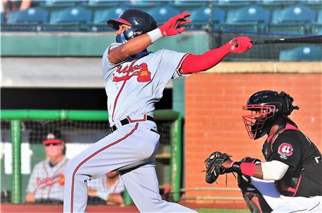 Cristian Pache went 3-for-5 for the Braves Sunday. Pache is the No. 5 prospect of the Atlanta Braves.