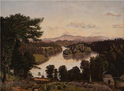 Belle Isle from Lyon's View, a view along the Tennessee River at Knoxville, by James Cameron, 1861. Oil on Canvas.