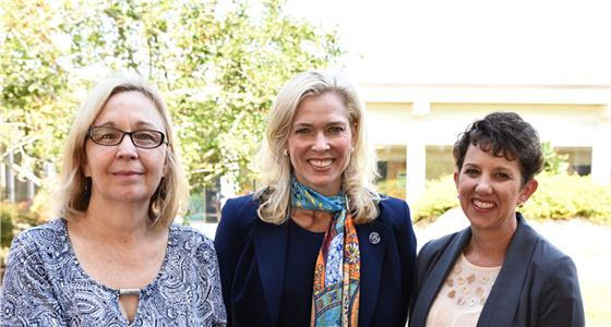 Chattanooga State President Dr. Rebecca Ashford, center, is shown with Erlanger Chairs of Excellence, Michele McCarthy at left, and Dawn Steele, at right
